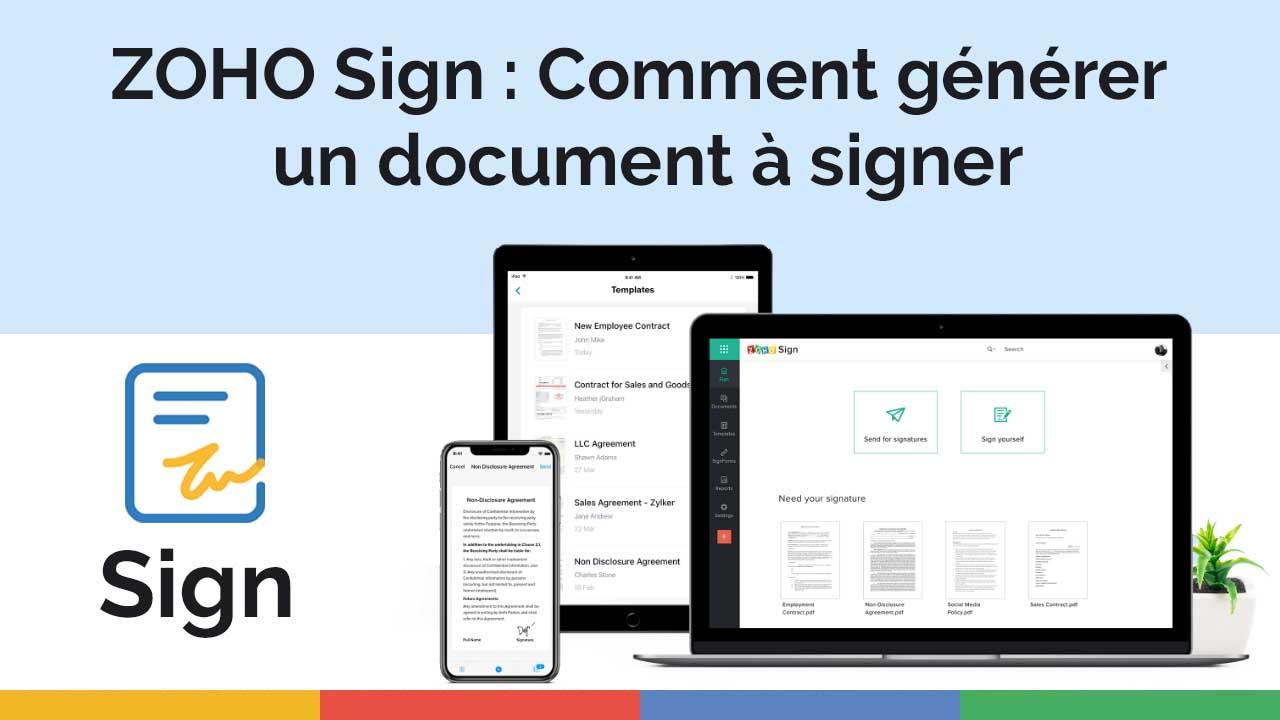ZOHO Sign - Comment générer un document à signer
