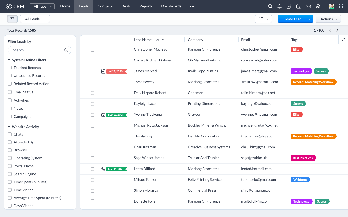 New features for list view in Zoho CRM