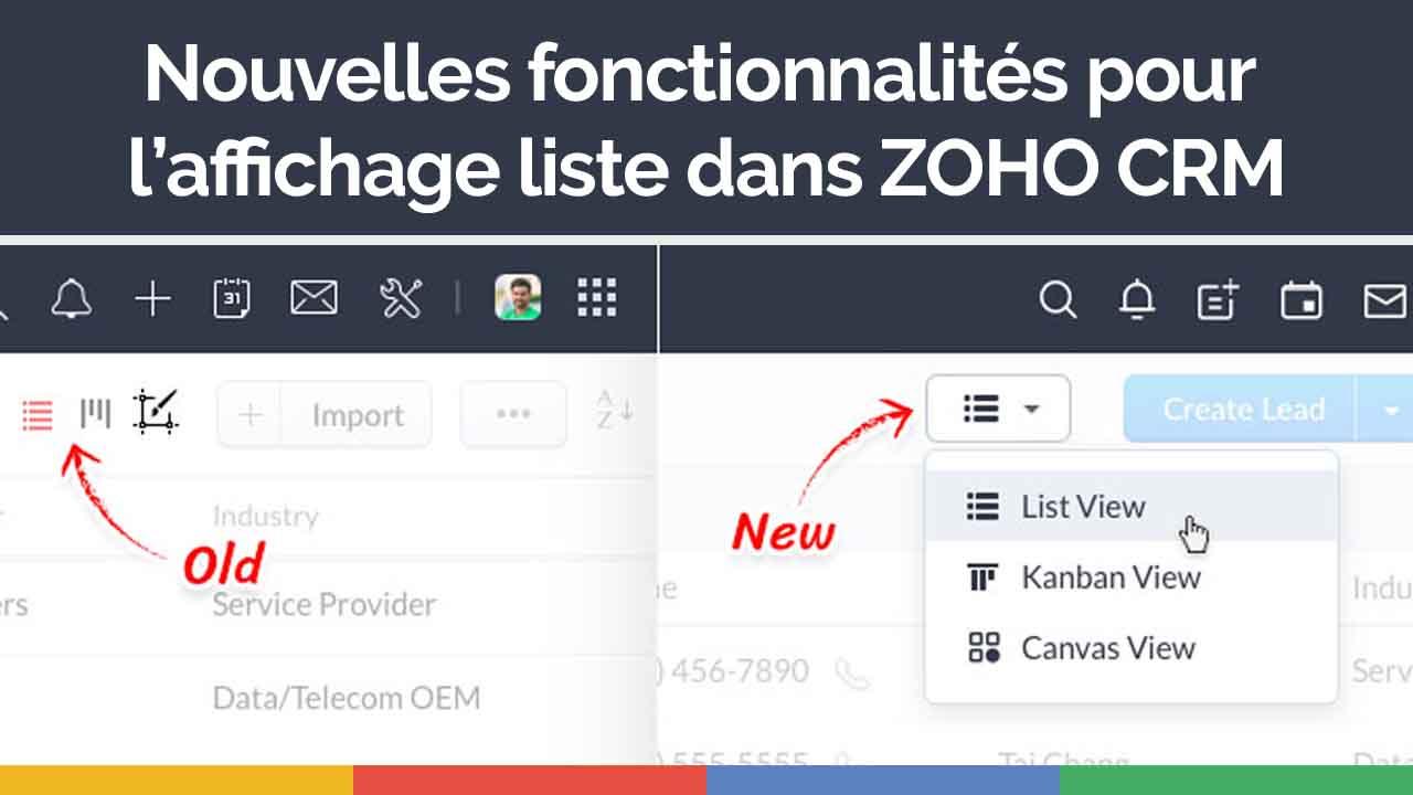 Nouvelles fonctionnalités pour l'affichage liste dans Zoho CRM