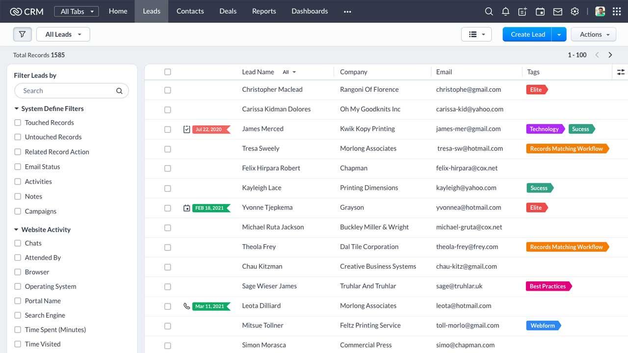 Affichage liste dans CRM. Nouvelles fonctionnalités pour l'affichage liste dans Zoho CRM